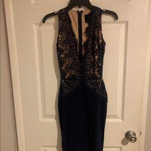 Navy blue midi lace dress